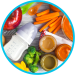 Whole foods, baby foods, bottle milke